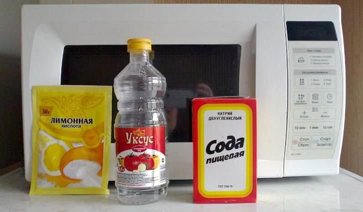 Сода, уксус, лимонная кислота для чистки микроволновки